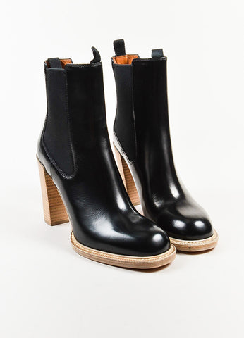 "Celine Black Glossy Leather Stacked Heel ""Chelsea"" Mid Calf Boots Frontview"