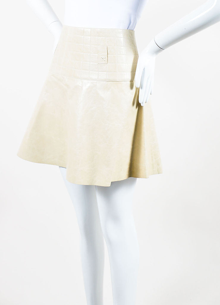 Cream Chanel Leather Quilted A Line Flounce Skirt Sideview