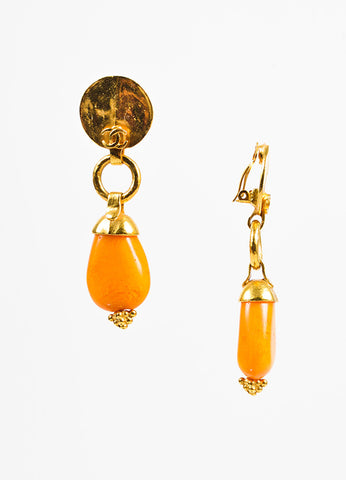 Gold Toned and Orange Bead Chanel 'CC' Hammered Drop Clip On Earrings Sideview