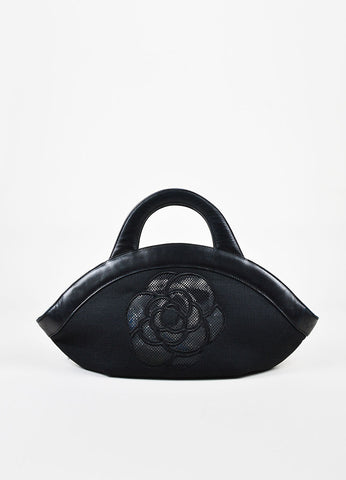 Chanel Black Canvas Leather Trim Camellia Flower and 'CC' Mesh Handle Bag Frontview