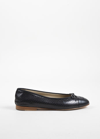 Chanel Black Leather Perforated Bow Tie 'CC' Stitched Toe Ballerina Flats Sideview
