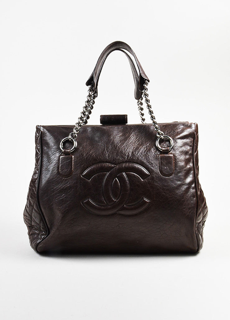 Chanel Brown Leather 'CC' Quilted Sides Large Tote Bag Frontview