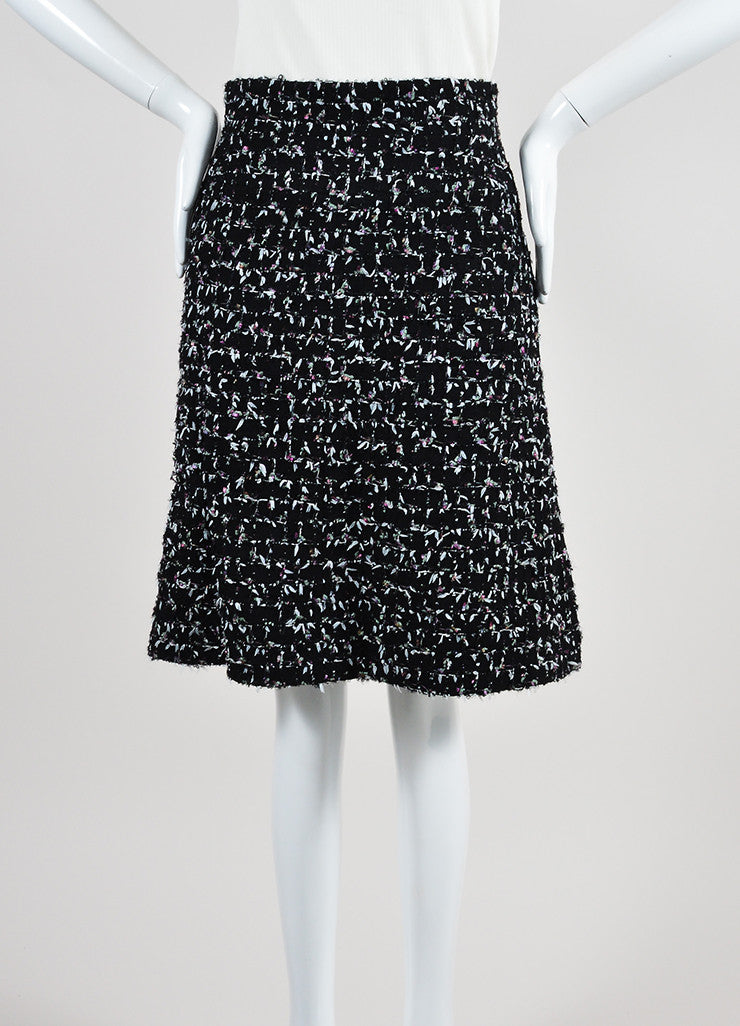 Black and Multicolor Chanel Wool Tweed Tie Embellished A-Line Skirt Frontview