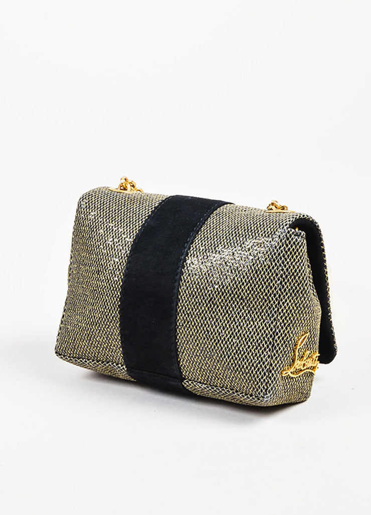 "Christian Louboutin Grey Gold Metallic Chain ""Mini Sweet Charity"" Bag Back"