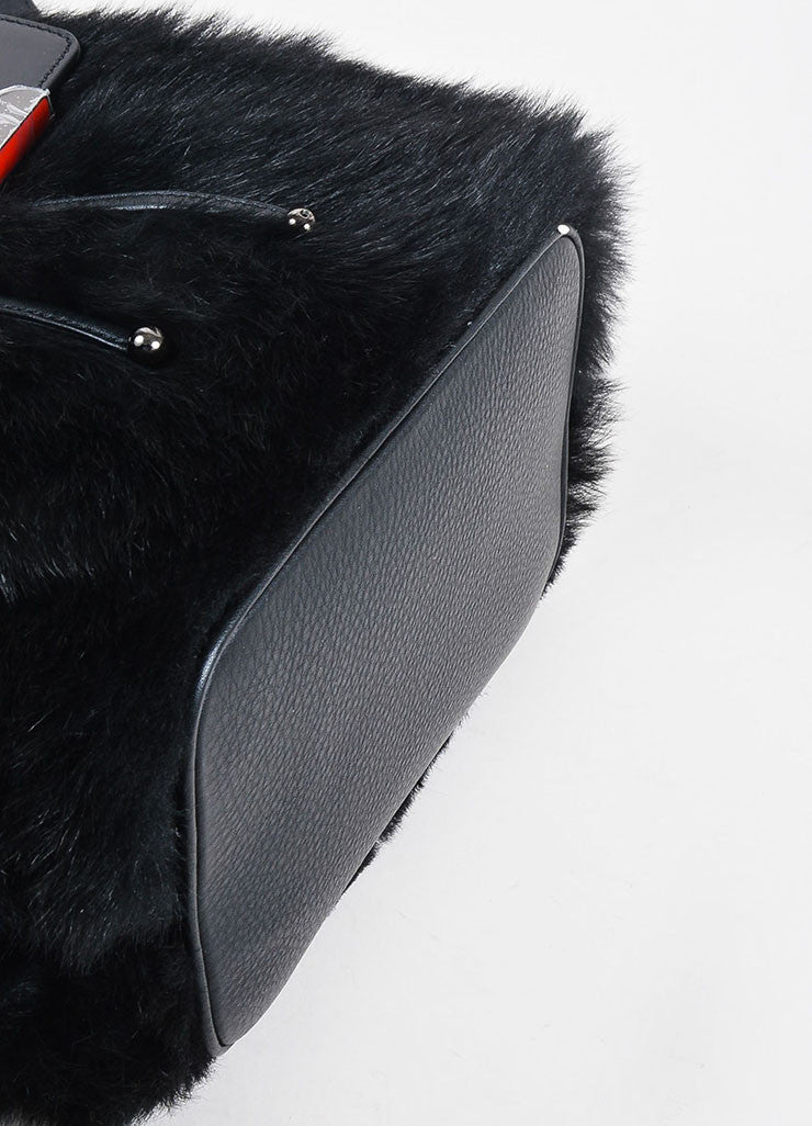 "Christian Louboutin Black Leather Faux Fur ""Lucky L"" Bucket Backpack Bottom View"