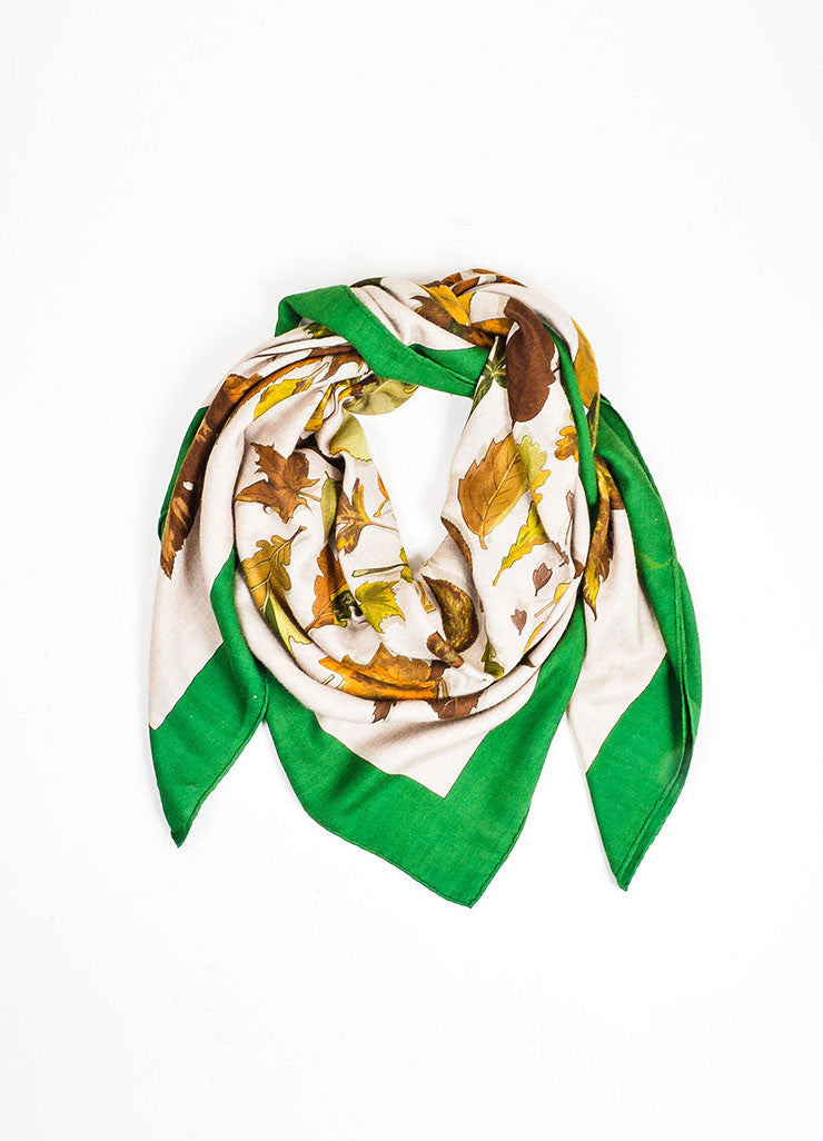 "Brown, Green, and Beige Hermes Cashmere and Silk ""Tourbillon"" Square Shawl Scarf Frontview"