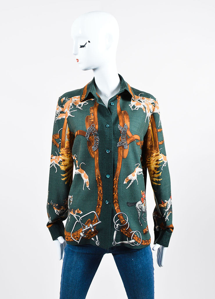 Green and Brown Hermes Cashmere Horse and Hound Printed Button Down Blouse Frontview