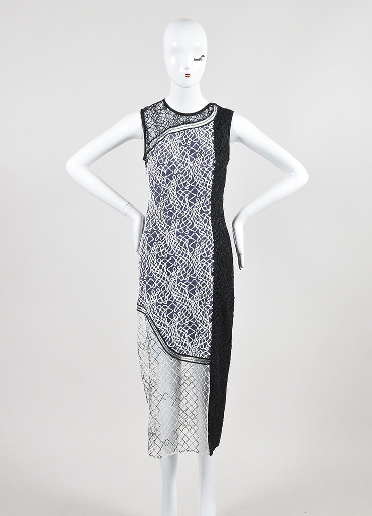 Black and White Jonathan Simkhai Mesh Embroidered Paneled Midi Dress Frontview