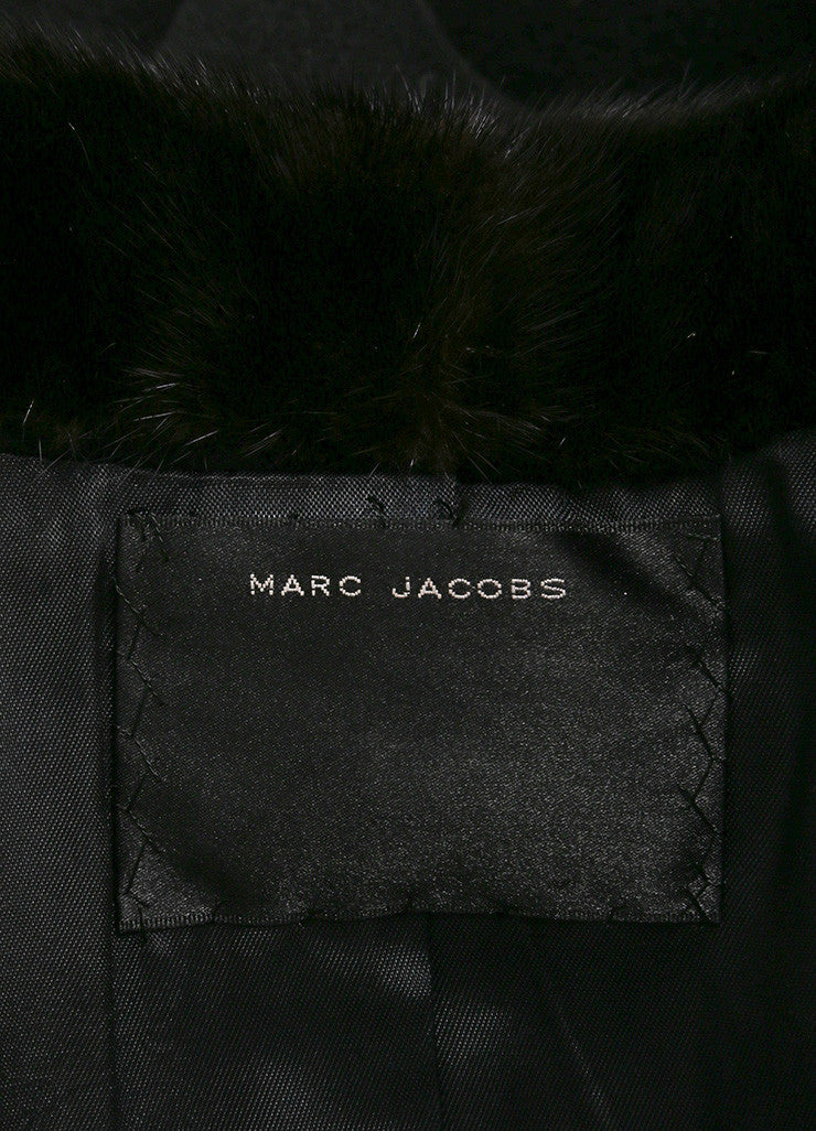 Marc Jacobs Black Cashmere Fur Collar Long Sleeve Coat Brand