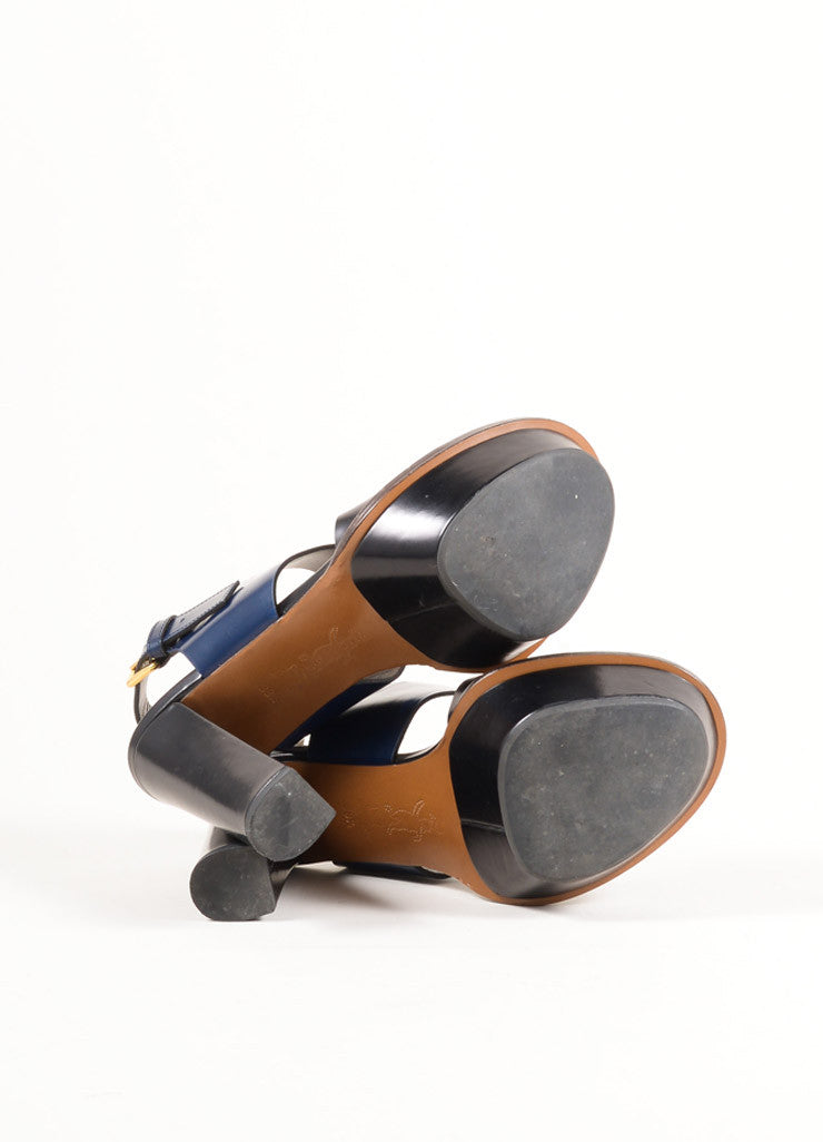 Marni Black and Navy Glossy Leather Slingback Platform Sandals Outsoles