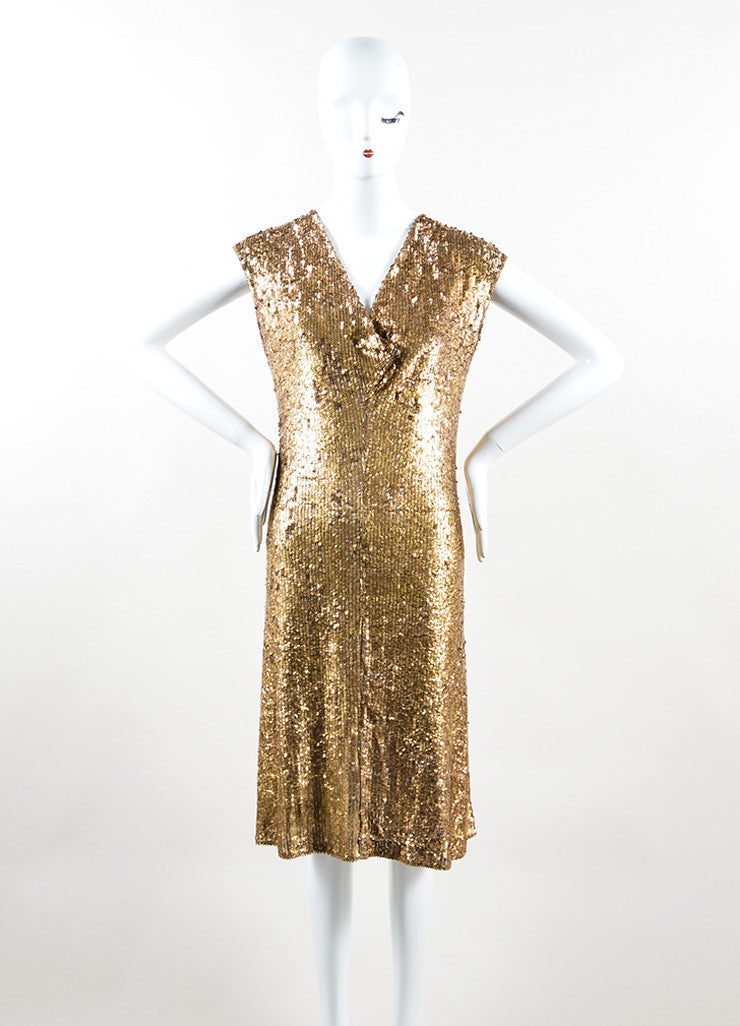 Marni Gold Sequin Semi Sheer Sleeveless Dress Frontview