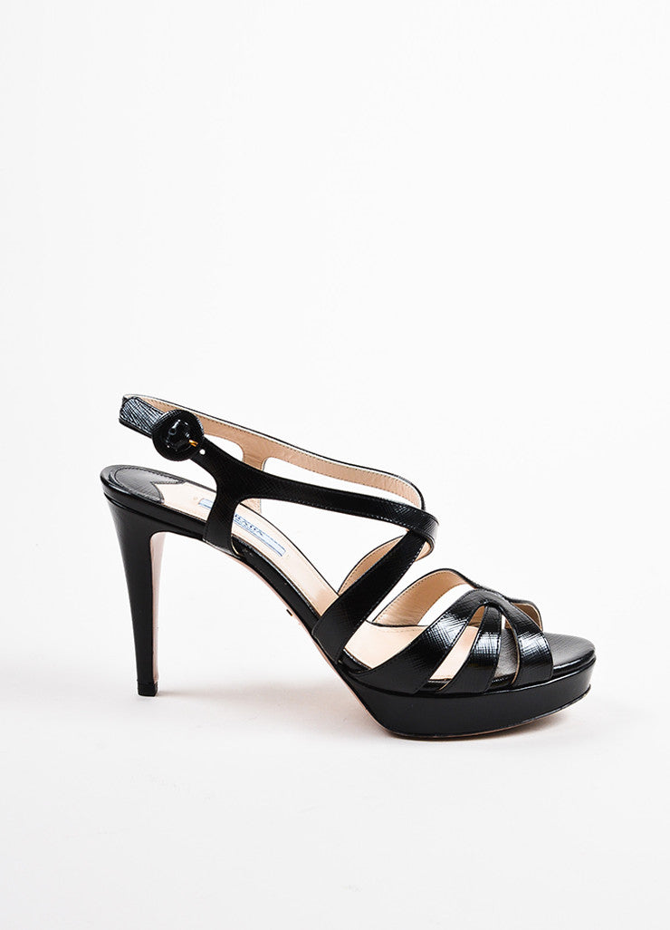 "Prada ""Nero"" Black Saffiano Patent Leather Strappy Platform Sandals Sideview"