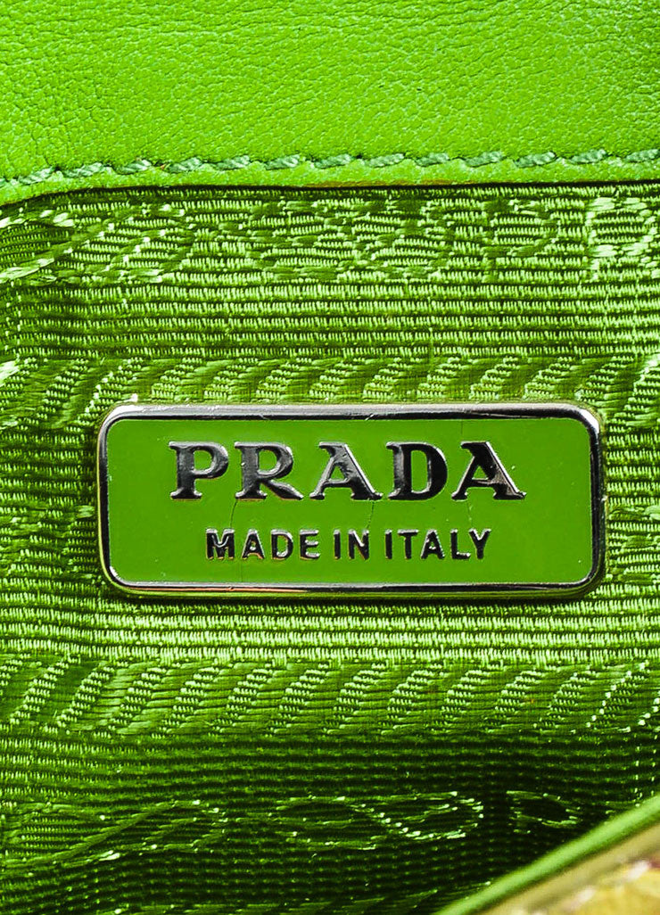 Green, Brown, and Purple Prada Python Snakeskin Top Flap Push Lock Wristlet Wallet Brand