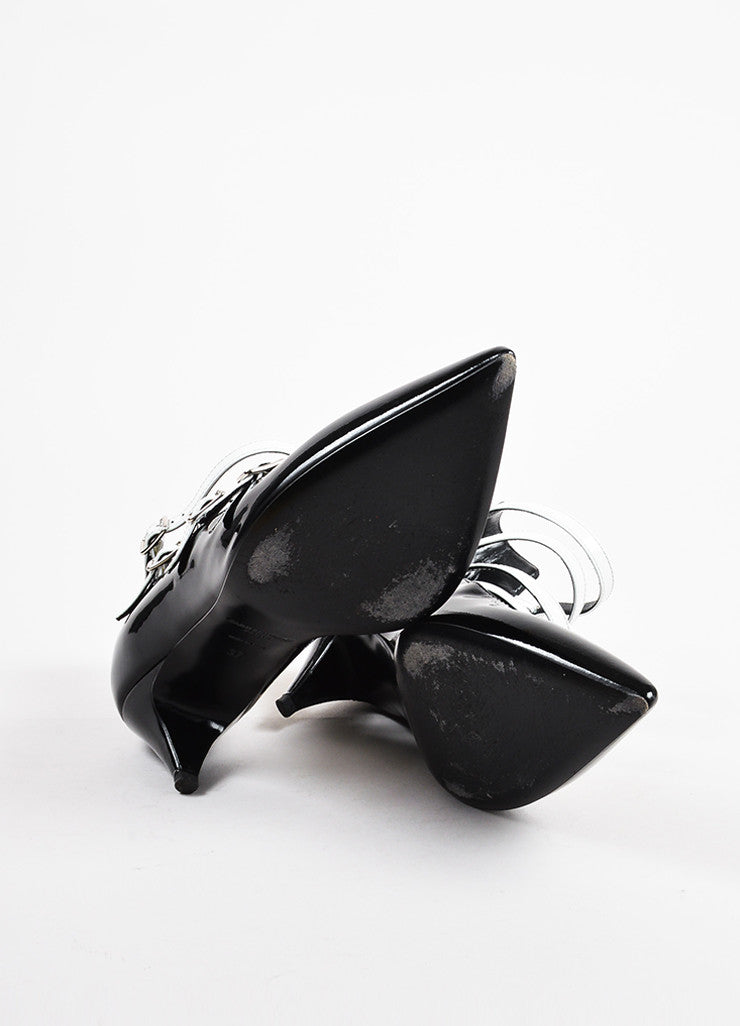 Saint Laurent Black White Patent Leather Pointed Toe Buckle Heels Sole
