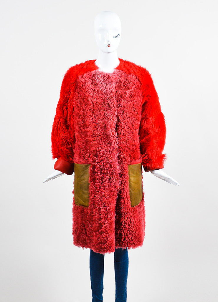 Red and Brown¥éË Sofie D'Hoore Fur Leather Reversible Patched Coat Frontview 4