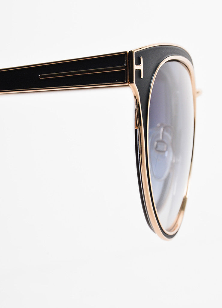 "Tom Ford Black, Blue, and Red Metallic ""Nina"" Cat Eye Sunglasses Detail"