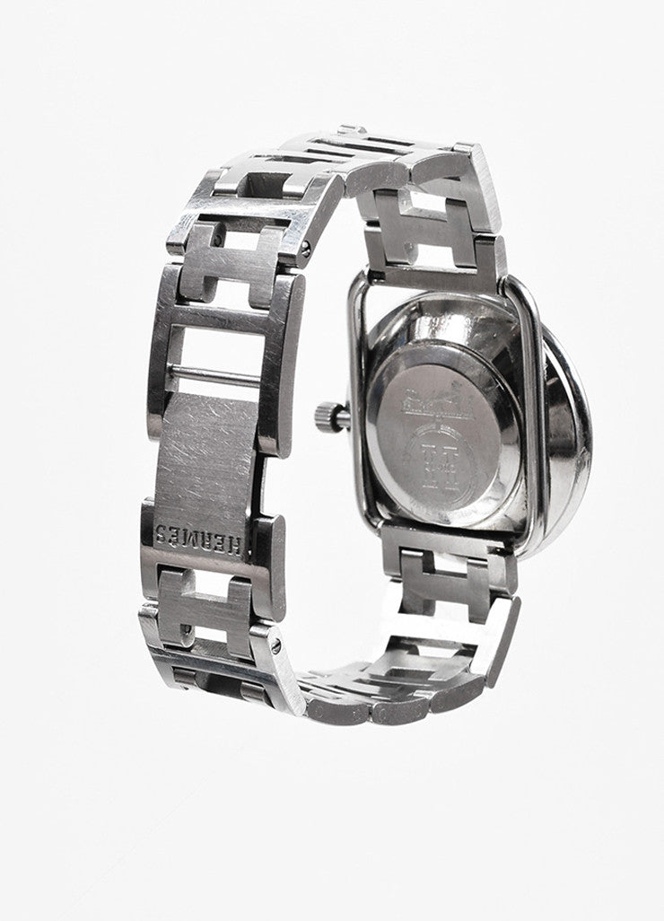 "Hermes Stainless Steel ""Arceau GM"" Quartz Watch and 'H' Bracelet Strap Backview"