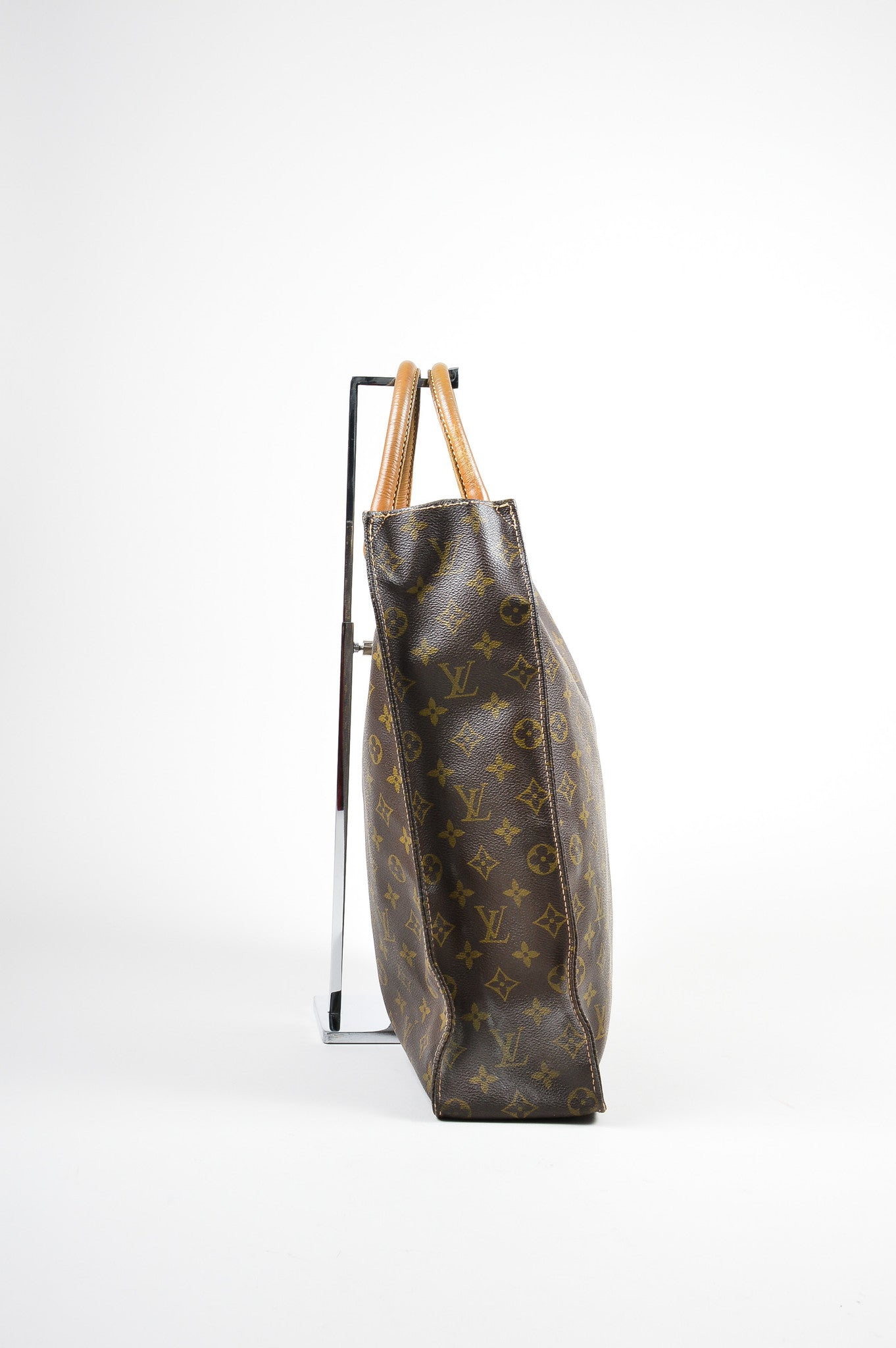 "Brown Louis Vuitton Canvas and Leather Monogram North South ""Sac Plat"" Tote Bag Sideview"