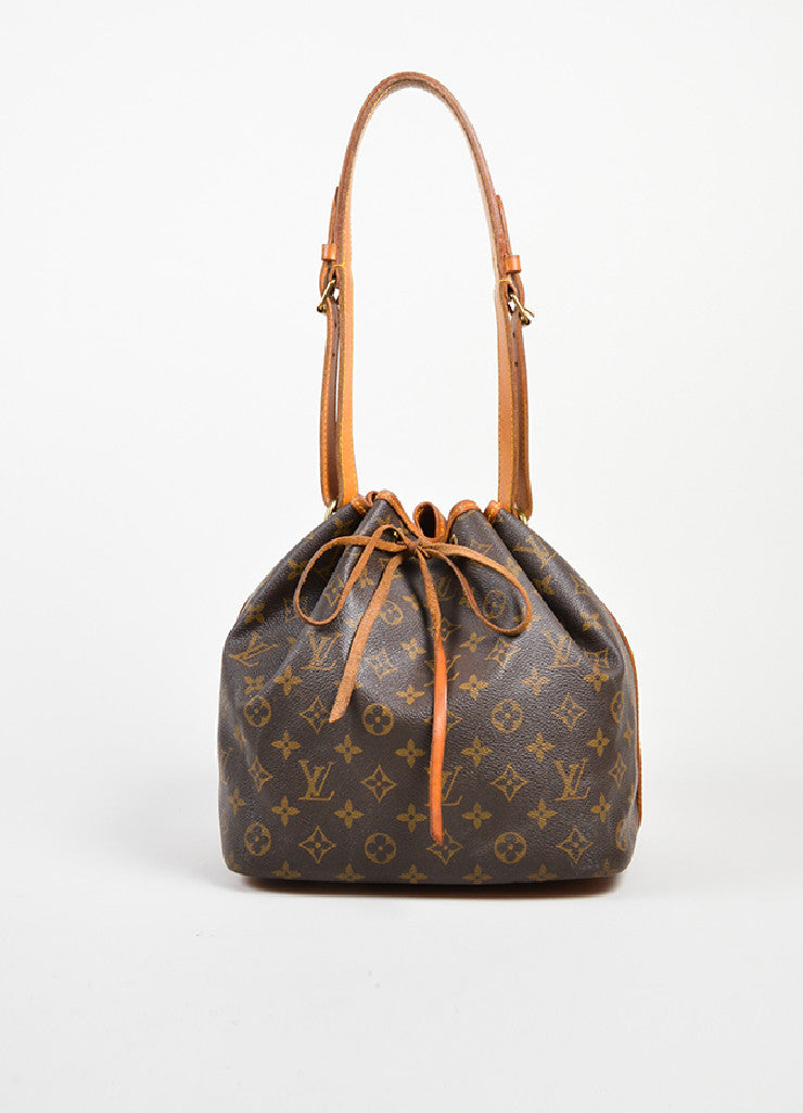 "Brown and Tan Louis Vuitton Coated Canvas Monogram ""Petit Noe"" Bucket Bag Frontview"