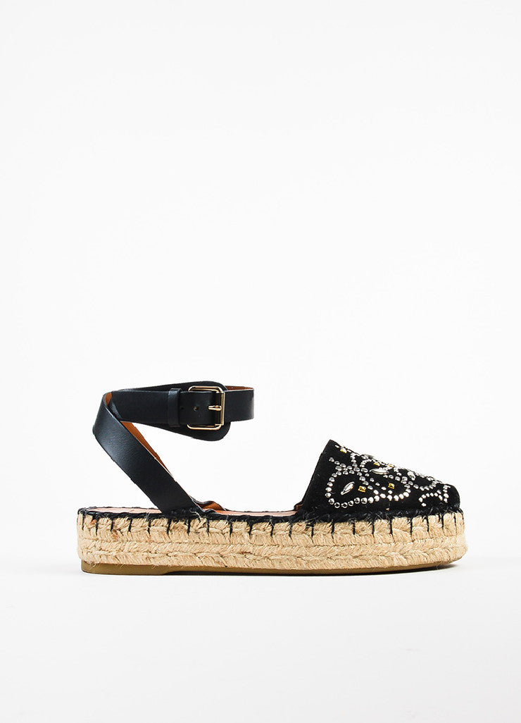 Valentino Black Suede Silver Toned Studded Platform Espadrilles Sideview