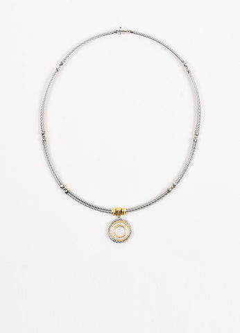 Alor Stainless Steel, 18K Yellow Gold, and Diamond Disc Pendant Necklace Frontview