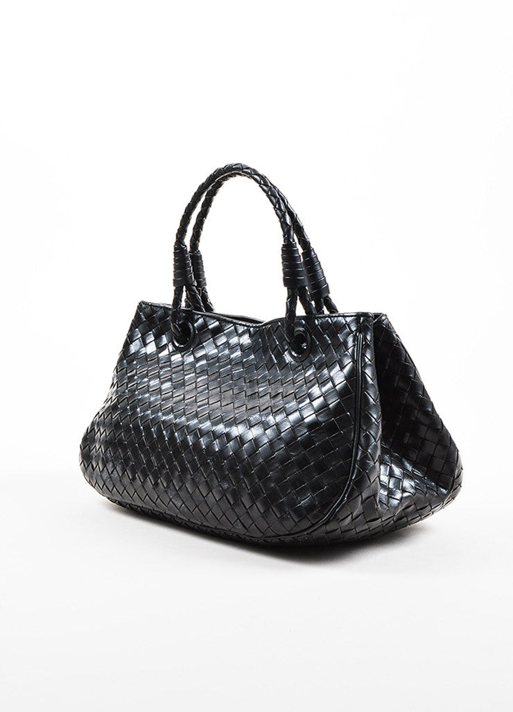 Bottega Veneta Black Leather Intrecciato Woven East West Tote Bag Back