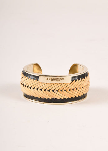 Burberry Prorsum Black, Tan, and Gold Toned Leather Straw Cuff Bracelet Frontview