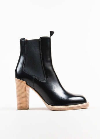 "Celine Black Glossy Leather Stacked Heel ""Chelsea"" Mid Calf Boots Sideview"