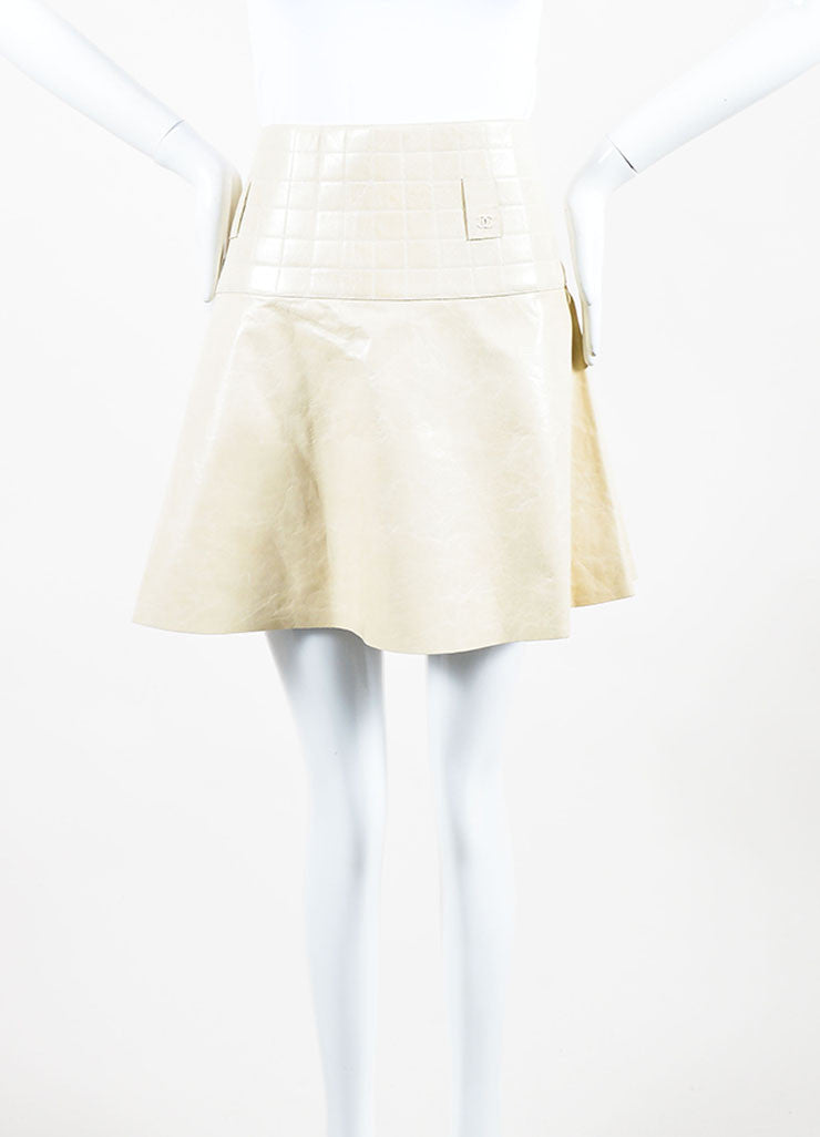 Cream Chanel Leather Quilted A Line Flounce Skirt Frontview