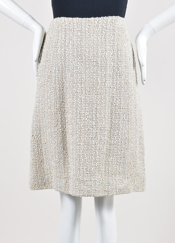 Cream Chanel Woven Tweed Knee Length A-Line Skirt Frontview