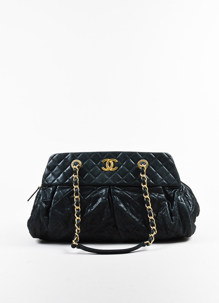 "Chanel Black and Gold Toned Iridescent Leather Chain ""Large Chic Quilt Bowling"" Bag Frontview"
