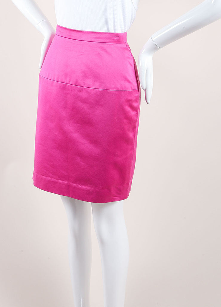 Chanel Pink Poplin Button Pencil Skirt Sideview