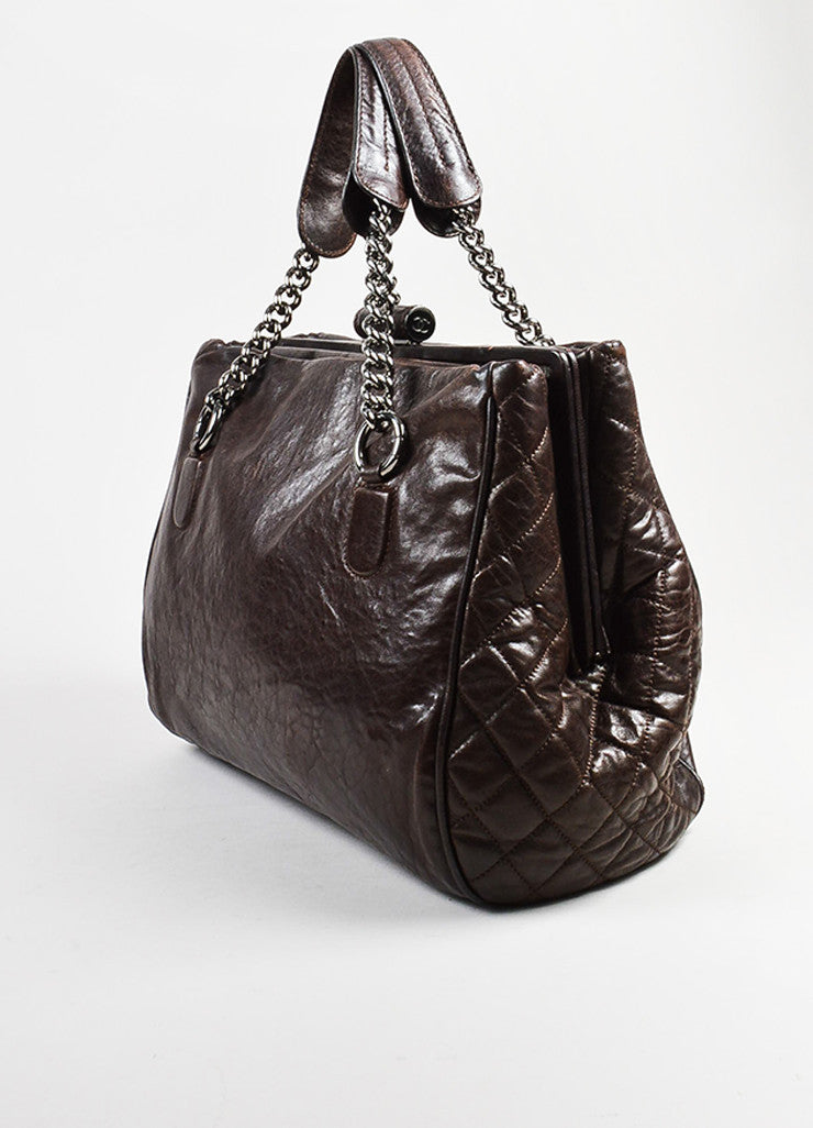 Chanel Brown Leather 'CC' Quilted Sides Large Tote Bag Sideview