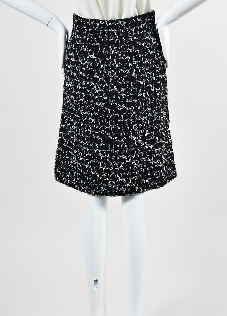 Black and Multicolor Chanel Wool Tweed Tie Embellished A-Line Skirt Backview