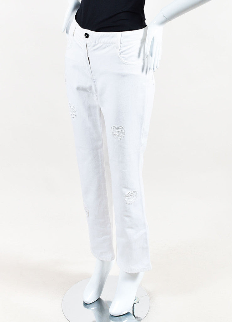 Chanel White Cotton Denim Flower Cut Out Wide Straight Leg Jeans Sideview