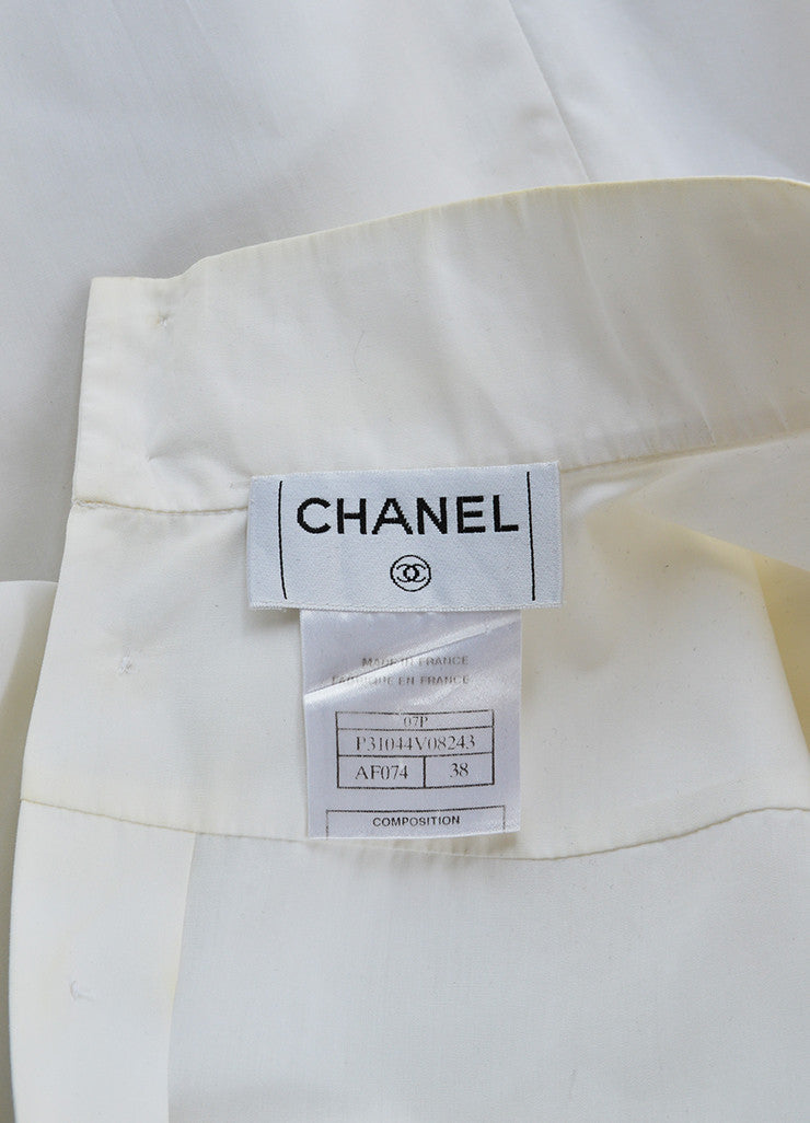 Chanel White Poplin Silk Chiffon Bow Pleated Sleeveless Blouse Brand