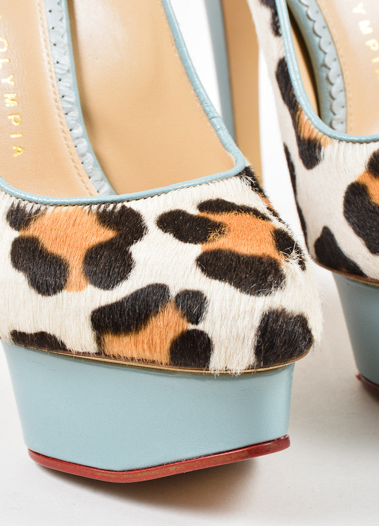 "Charlotte Olympia Leopard Pony Hair Leather ""Polly"" Platform Pumps Detail"