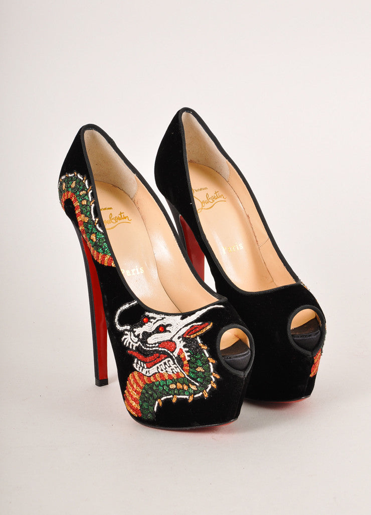 "Christian Louboutin Black ""Highness Dragon Tattoo"" Velvet Peep Toe Pumps Frontview"