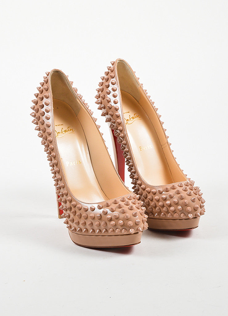 "Nude Leather Christian Louboutin ""Alti Pump Spikes 160"" Pumps Frontview"