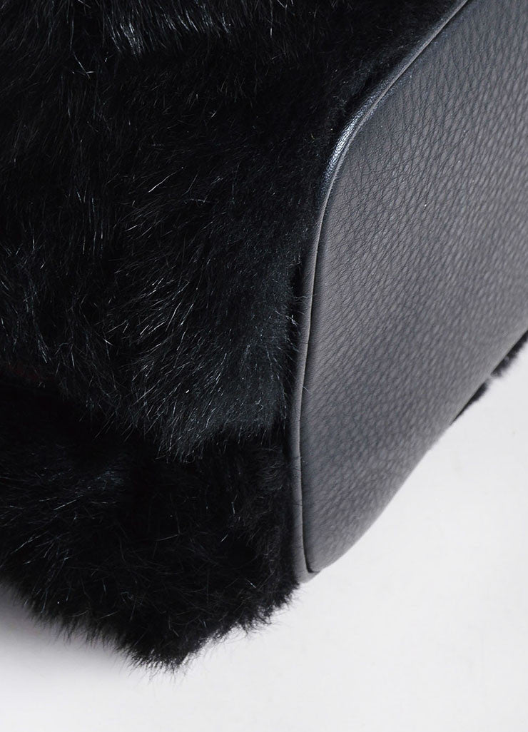 "Christian Louboutin Black Leather Faux Fur ""Lucky L"" Bucket Backpack Detail"