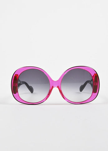 Courreges Hot Pink and Black See Through Circle Ombre Lens Sunglasses Frontview