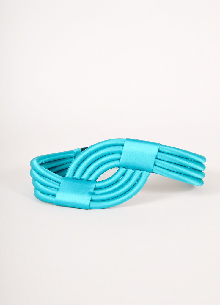 Escada Turquoise Rolled and Banded Satin Waist Belt Frontview