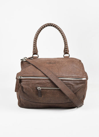 "Givenchy Brown Embossed Lizard Leather SHW ""Medium Pandora"" Satchel Bag Frontview"