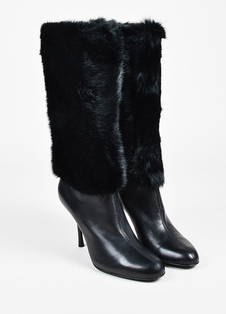 Gucci Black Pebbled Leather Mink Fur Shaft Almond Toe Heeled Boots Frontview