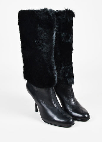 Gucci Dark Brown Patent Leather Pointed Toe Knee High Boots