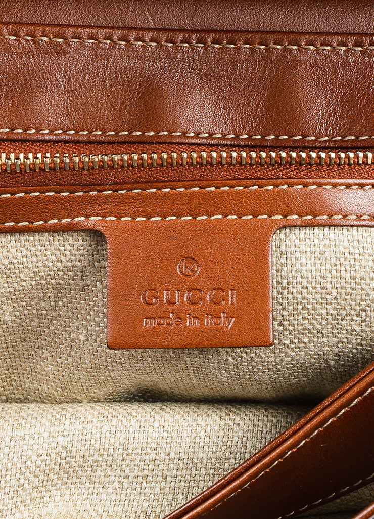 "Gucci Brown and Cream Canvas Leather ""Pigna"" Pattern Bamboo Handle ""Peggy"" Hobo Bag Brand"