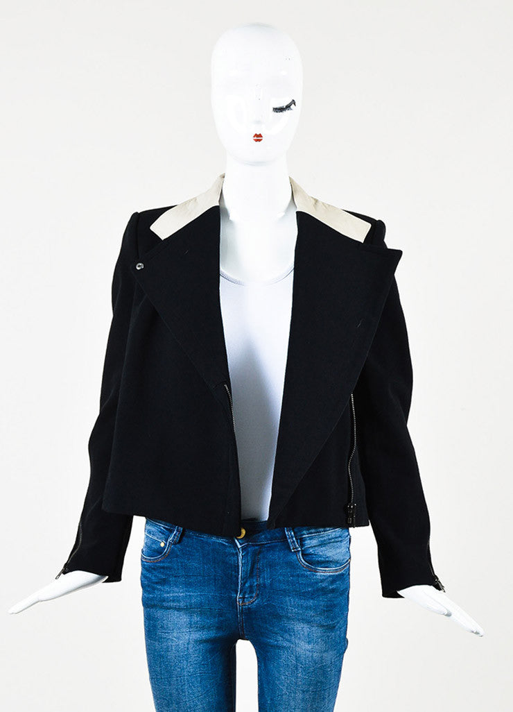 Helmut Lang Black and Beige Cotton Blend Leather Trim Jacket Frontview
