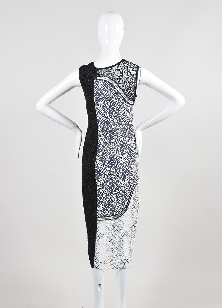 Black and White Jonathan Simkhai Mesh Embroidered Paneled Midi Dress Backview