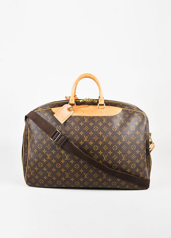 "Louis Vuitton Brown Coated Canvas Monogram ""Alize 2"" Travel Bag Front"