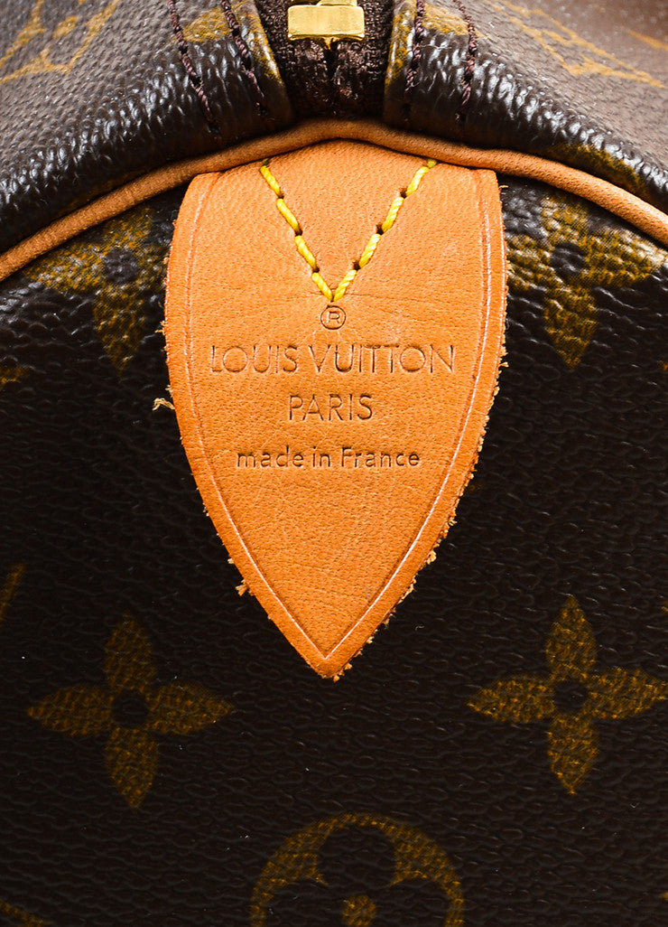 "Louis Vuitton Brown and Tan Coated Canvas Leather Trim Monogram ""Speedy 30"" Bag Brand"